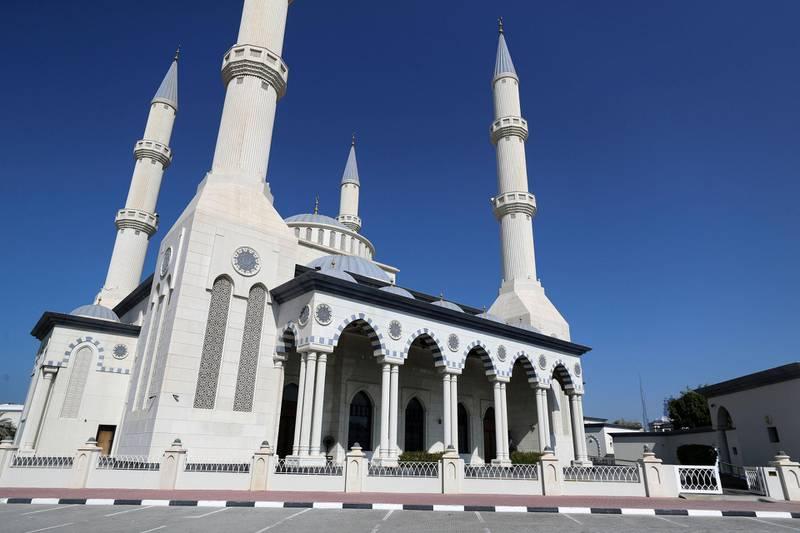 Dubai, United Arab Emirates - December 03, 2020: General View of Al Farooq Omar Bin Al Khattab Mosque. Thursday, December 3rd, 2020 in Dubai. Chris Whiteoak / The National