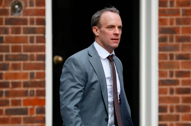 Britain's Foreign Secretary and First Secretary of State Dominic Raab arrives at 10 Downing Street in central London on February 13, 2020.  Britain's prime minister revamped his top team on February 13 in his first cabinet reshuffle since taking Britain out of the European Union.  / AFP / Tolga AKMEN