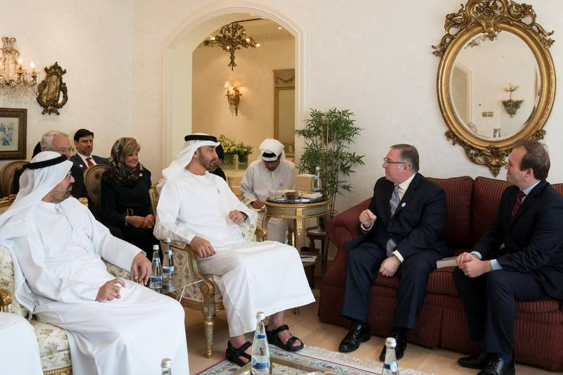 ABU DHABI, UNITED ARAB EMIRATES - October 29, 2018: HH Sheikh Mohamed bin Zayed Al Nahyan, Crown Prince of Abu Dhabi and Deputy Supreme Commander of the UAE Armed Forces (2nd L), meets with Joel C Rosenberg, Evangelical Christian and Chairman of The Joshua Fund  (2nd R) at Sea Palace. Seen with HE Dr Ali Rashid Al Nuaimi, Chairman of the Department of Education and Knowledge and Abu Dhabi Executive Council Member (L).  ( Mohamed Al Hammadi / Crown Prince Court - Abu Dhabi ) ---