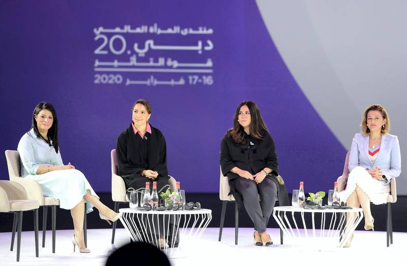 DUBAI, UNITED ARAB EMIRATES , Feb 17  – 2020 :- Left to Right - RANIA AL MASHAT, Minister of International Cooperation – Arab Republic of Egypt, Mariam Al-Muhairi, Minister of State for Food Security – UAE,  Lana Zaki Nusseibeh, UAE Ambassador and Permanent Representative to the UN and MIMOZA KUSARI LILA , MP – Republic of Kosovo during the session on 'WOMEN LEADERS IN GOVERNMENT' at the Global Women's Forum Dubai held at Madinat Jumeirah in Dubai. (Pawan  Singh / The National) For News. Story by Kelly