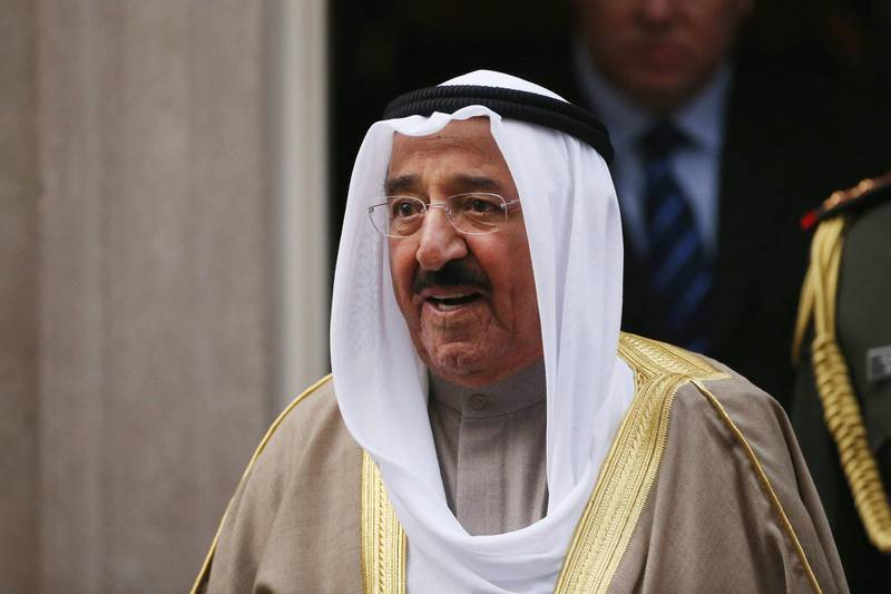 LONDON, ENGLAND - NOVEMBER 28:  His Highness the Amir Sheikh Sabah Al-Ahmad Al-Jaber Al-Sabah of Kuwait leaves Number 10 Downing Street after meeting with British Prime Minister David Cameron on November 28, 2012 in London, England. The Amir of Kuwait is conducting three-day state visit to the UK;following his meeting with Prime Minister David Cameron in Downing Street he will attend a Banquet at the Guildhall.  (Photo by Oli Scarff/Getty Images)