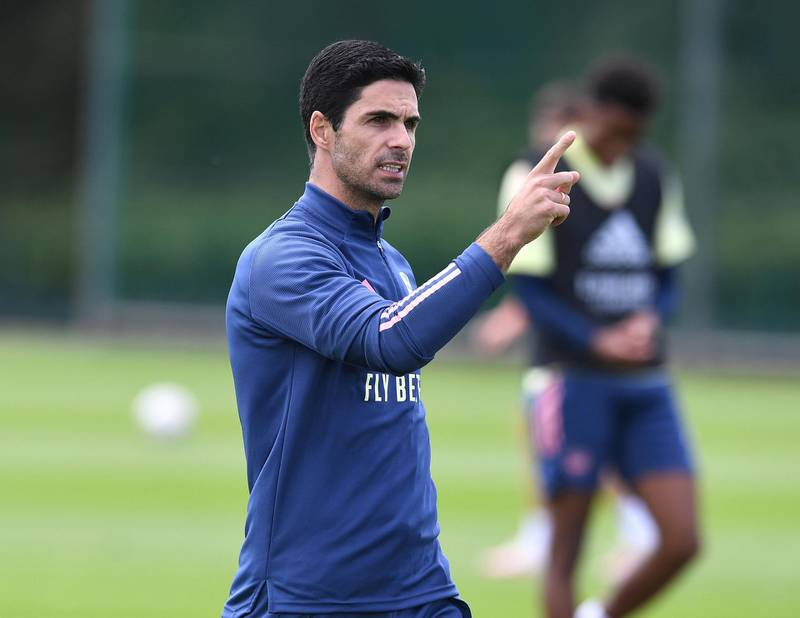 ST ALBANS, ENGLAND - JULY 29: Arsenal Head Coach Mikel Arteta during a training session at London Colney on July 29, 2020 in St Albans, England. (Photo by Stuart MacFarlane/Arsenal FC via Getty Images)