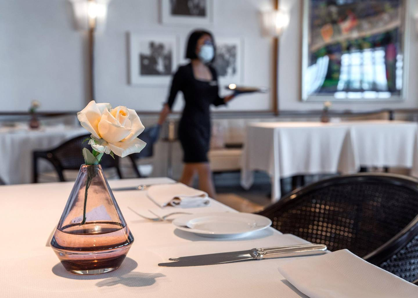 Abu Dhabi, United Arab Emirates, June 15, 2020.    Distanced tables at the Cafe Milano at the Four Seasons Hotel, Abu Dhabi.Victor Besa  / The NationalSection:  IfReporter:  Janice Rodrigues