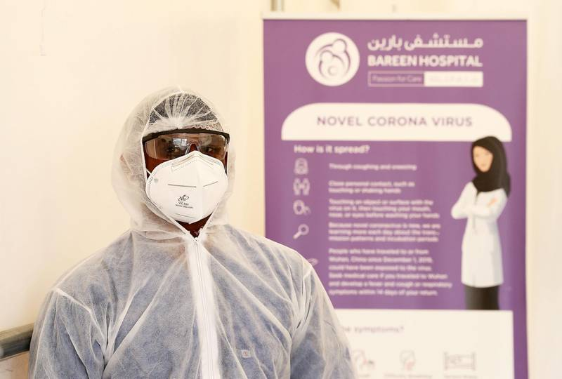ABU DHABI, UNITED ARAB EMIRATES , June 1 – 2020 :- Nikhil Rajendran, registered nurse in his PPE kit inside the fever clinic at the Bareen International Hospital in Mohamed Bin Zayed City in Abu Dhabi. (Pawan Singh / The National) For News. Story by Nick Webster