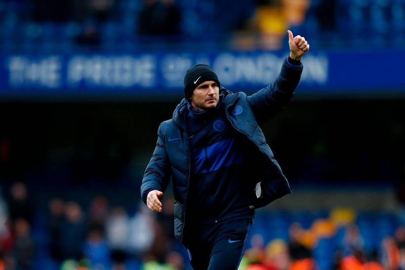 Chelsea's English head coach Frank Lampard salutes the fans after winning the English Premier League football match between Chelsea and Everton at Stamford Bridge in London on March 8, 2020. RESTRICTED TO EDITORIAL USE. No use with unauthorized audio, video, data, fixture lists, club/league logos or 'live' services. Online in-match use limited to 120 images. An additional 40 images may be used in extra time. No video emulation. Social media in-match use limited to 120 images. An additional 40 images may be used in extra time. No use in betting publications, games or single club/league/player publications.  / AFP / Adrian DENNIS / RESTRICTED TO EDITORIAL USE. No use with unauthorized audio, video, data, fixture lists, club/league logos or 'live' services. Online in-match use limited to 120 images. An additional 40 images may be used in extra time. No video emulation. Social media in-match use limited to 120 images. An additional 40 images may be used in extra time. No use in betting publications, games or single club/league/player publications.