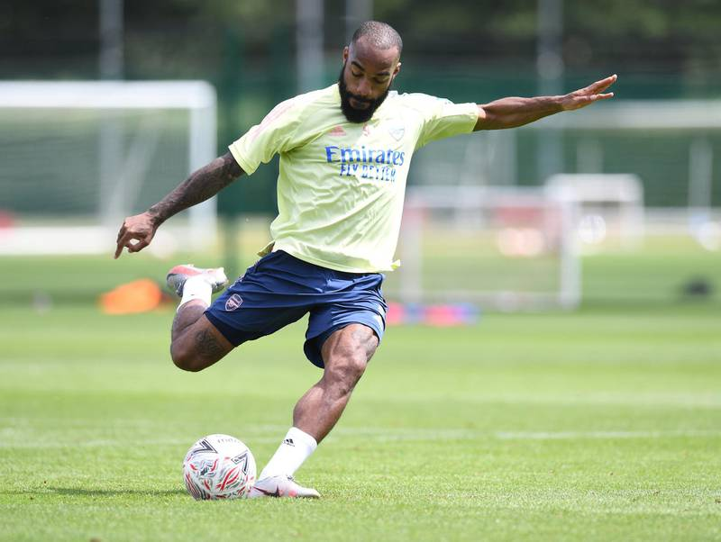 ST ALBANS, ENGLAND - JULY 29: Alex Lacazette of Arsenal during a training session at London Colney on July 29, 2020 in St Albans, England. (Photo by Stuart MacFarlane/Arsenal FC via Getty Images)