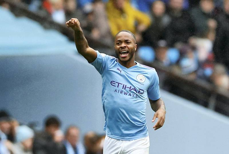 """Soccer Football - Premier League - Manchester City v Aston Villa - Etihad Stadium, Manchester, Britain - October 26, 2019  Manchester City's Raheem Sterling celebrates scoring their first goal       Action Images via Reuters/Jason Cairnduff  EDITORIAL USE ONLY. No use with unauthorized audio, video, data, fixture lists, club/league logos or """"live"""" services. Online in-match use limited to 75 images, no video emulation. No use in betting, games or single club/league/player publications.  Please contact your account representative for further details."""