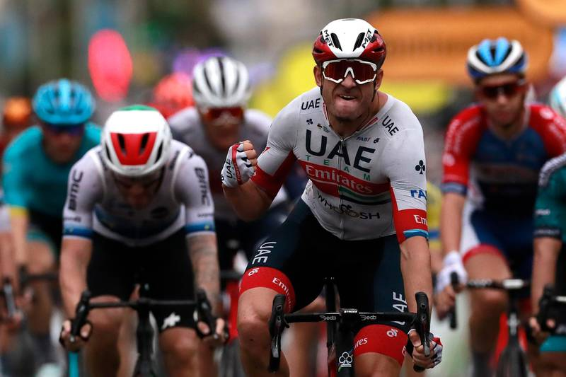 Cycling - Tour de France - Stage 1 - Nice Moyen Pays to Nice - France - August 29, 2020. UAE Team Emirates rider Alexander Kristoff of Norway celebrates after winning the stage. Pool via REUTERS/Christophe Petit Tesson