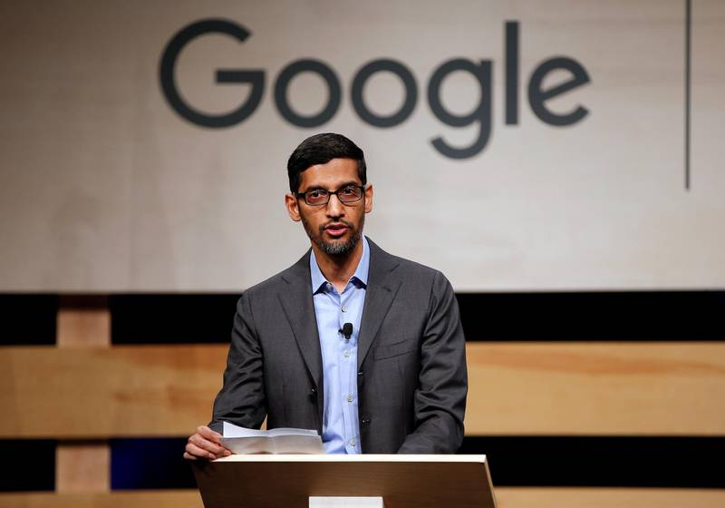 FILE PHOTO: Google CEO Sundar Pichai speaks during signing ceremony committing Google to help expand information technology education at El Centro College in Dallas, Texas, U.S. October 3, 2019.  REUTERS/Brandon Wade/File Photo