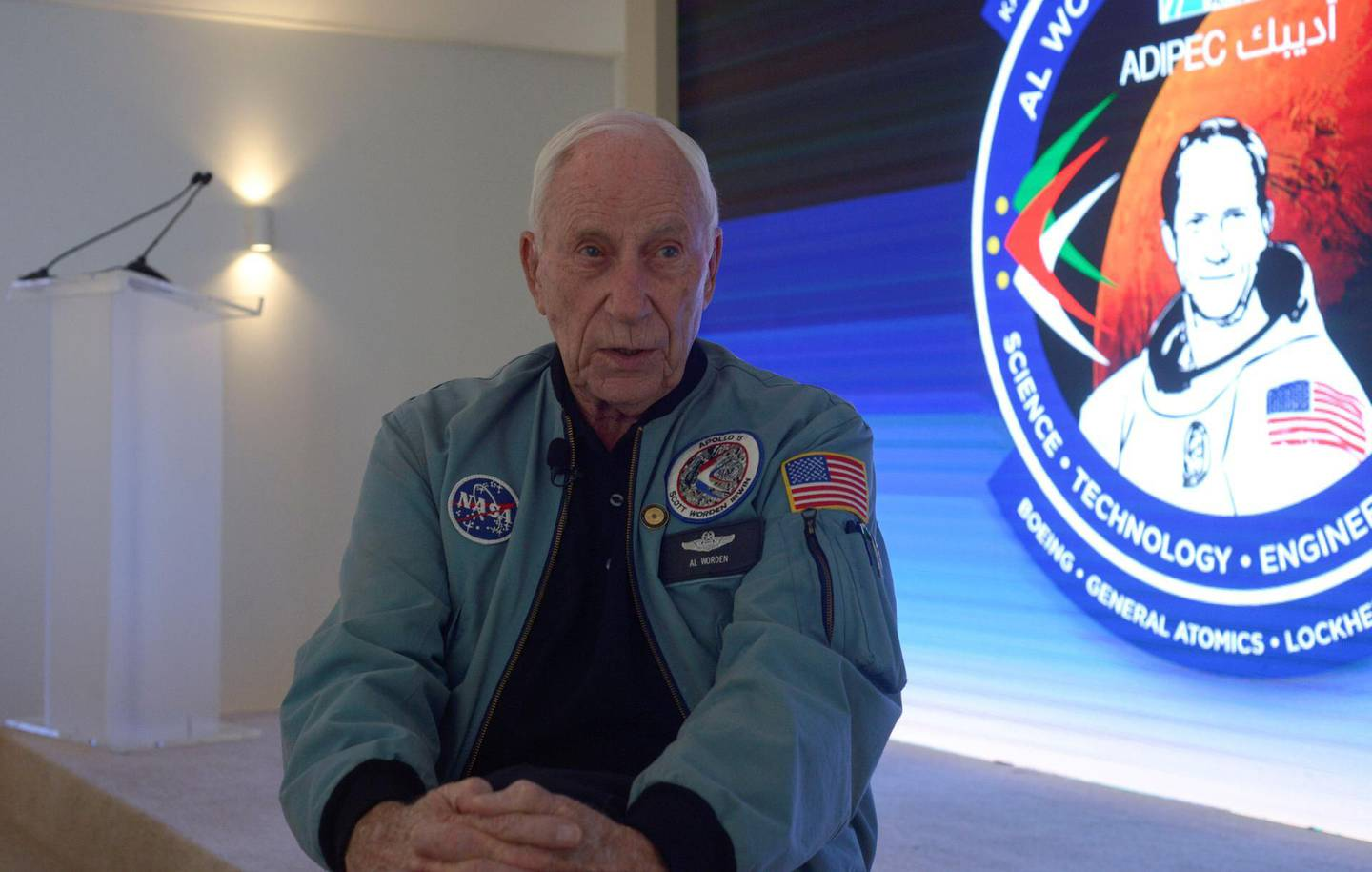 Abu Dhabi, United Arab Emirates - Alfred Worden, an American astronaut and engineer who was the Command Module Pilot for the Apollo 15 lunar mission in 1971 attended the Abu Dhabi International Petroleum Exhibition and Conference at ADNEC on Wednesday November 15, 2017. (Khushnum Bhandari/ The National)