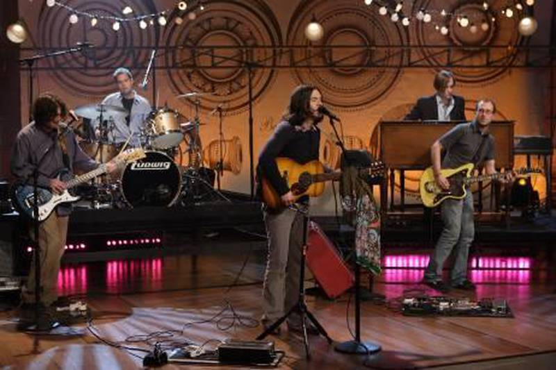 TONIGHT SHOW WITH JAY LENO -- Episode 3444 -- Pictured: Musical guest Bright Eyes performs on September 26, 2007 (Photo by: Margaret Norton/NBCU Photo Bank via AP Images)