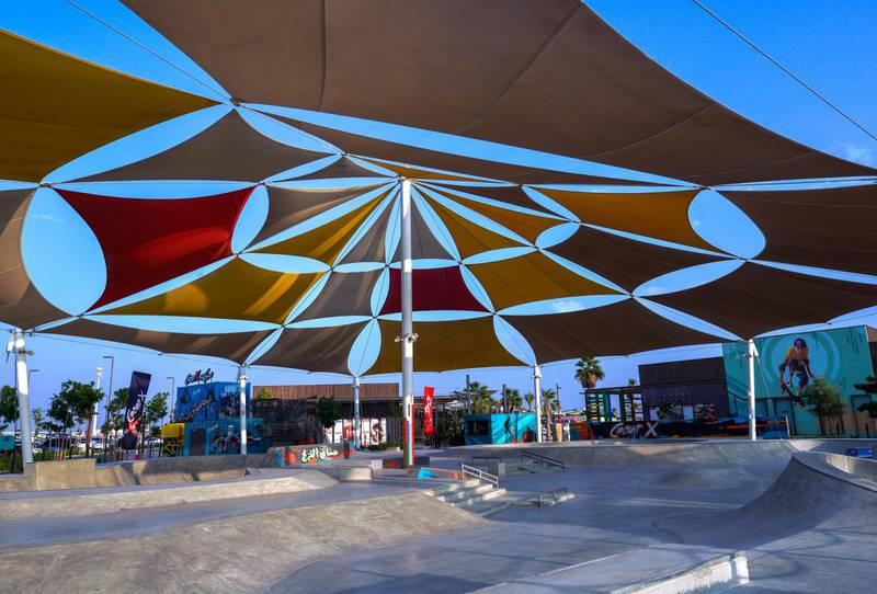 Abu Dhabi, United Arab Emirates, November 8, 2020.   The new Hudayriyat Leisure and Entertainment District at Hudayriyat Island.  The Circuit X skate and BMX park.Victor Besa/The NationalSection:  NAReporter:  Haneen Dajani