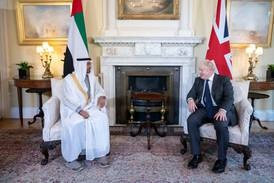 What was on the menu for Boris Johnson and Sheikh Mohamed bin Zayed's three-course lunch?