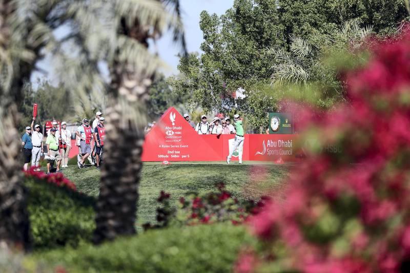 Abu Dhabi, United Arab Emirates - Reporter: Paul Radley and John McAuley: Joakim Lagergren tees off on the 2nd hole on the 4th and final day of the Abu Dhabi HSBC Championships. Sunday, January 19th, 2020. Abu Dhabi Golf Club, Abu Dhabi. Chris Whiteoak / The National