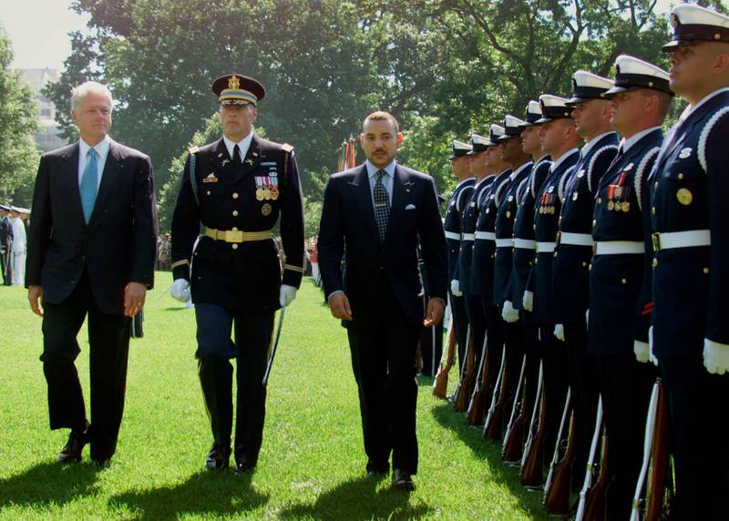 371180 04: US President Bill Clinton and His Majesty Mohammed VI, King of Morocco walk a line of troops during a State Arrival Ceremony at the White House June 20, 2000, in Washington. King Mohammed VI of Morocco is on his his first trip to the United States since becoming King almost a year after the death of his father, King Hassan II. (Photo by Mark Wilson/Newsmakers)