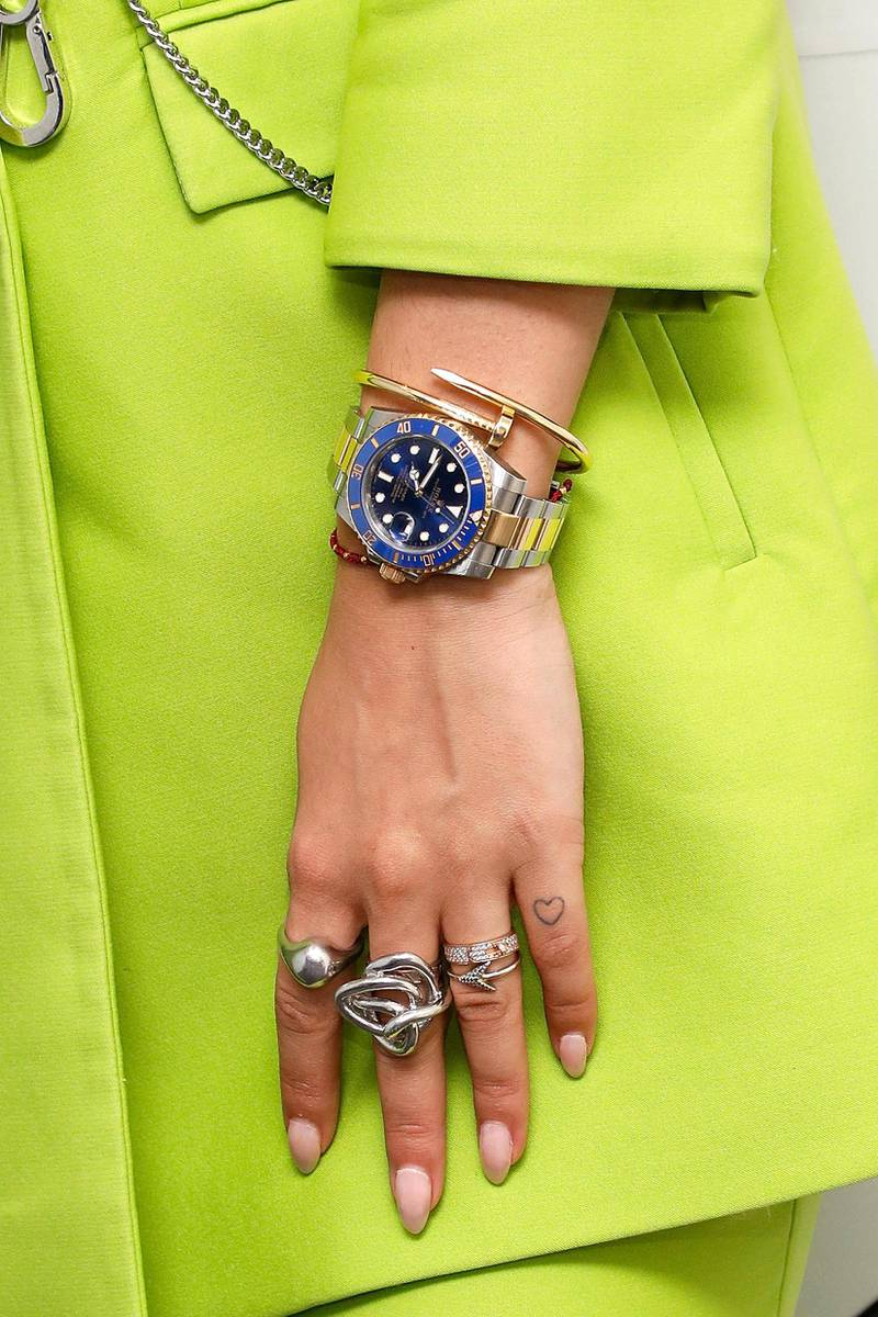NEW YORK, NY - JUNE 19: Rita Ora, watch detail, ring detail, tattoo detail, visits the Music Choice studios on June 19, 2017 in New York City.  (Photo by Taylor Hill/Getty Images)