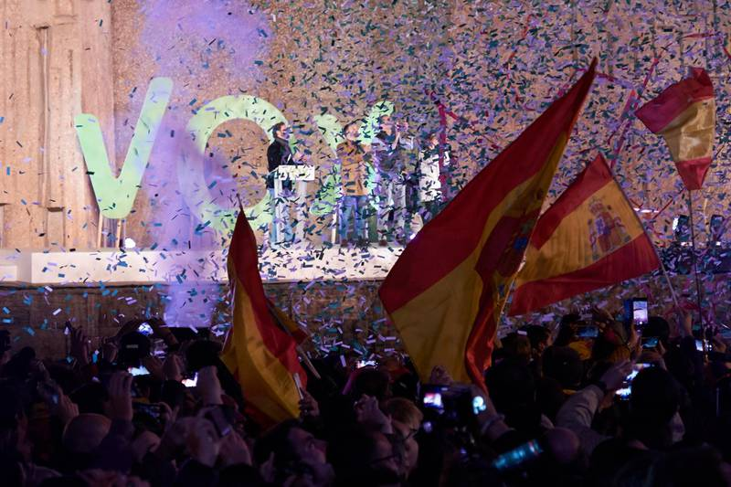 MADRID, SPAIN - NOVEMBER 08: Supporters wave their flags during the far right Vox party final rally on November 08, 2019 in Madrid, Spain. Spain holds its fourth general election in four years on Sunday 10th November in a hope to break prolonged political deadlock. After the last election, the Socialist Party (PSOE) Leader, Pedro Sánchez, was unable to secure enough parliamentary support to form a government. Other parties on the ballot are left-leaning Podemos, splinter party Más País, the conservative Popular Party, centre-right Ciudadanos and the far-right Vox. (Photo by Xaume Olleros/Getty Images)