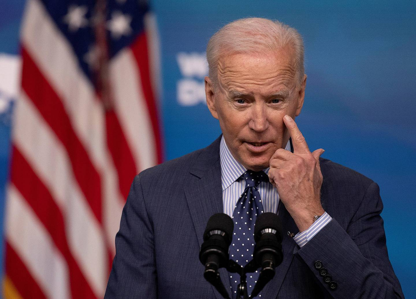 FILE PHOTO: U.S. President Joe Biden delivers remarks on the administration's coronavirus disease (COVID-19) response in the Eisenhower Executive Office Building's South Court Auditorium at the White House in Washington, U.S., June 2, 2021. REUTERS/Carlos Barria/File Photo