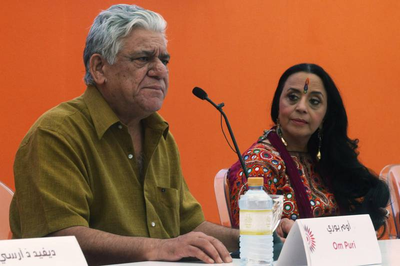 United Arab Emirates - Abu Dhabi - October 17th, 2010:  Actor Om Puri and actress Ila Arun from the film West is West speaks the the press about the film.  (Galen Clarke/The National)