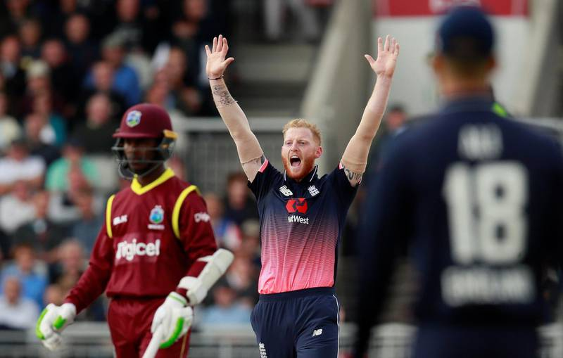 Cricket - England vs West Indies - First One Day International - Emirates Old Trafford, Manchester, Britain - September 19, 2017    England���s Ben Stokes appeals for the wicket of West Indies' Marlon Samuels   Action Images via Reuters/Jason Cairnduff
