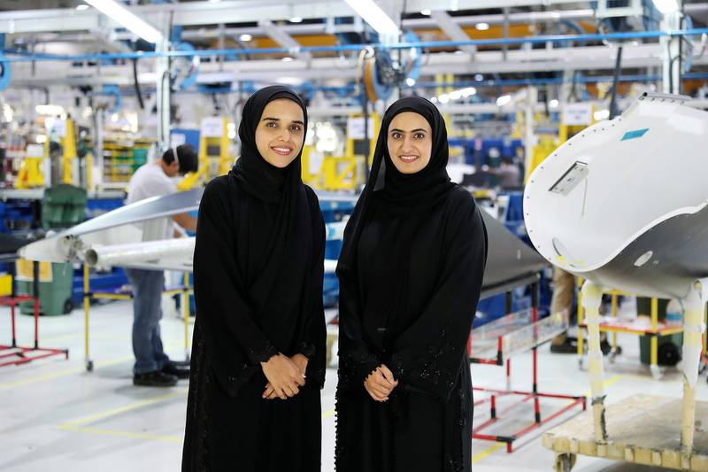 AL AIN , UNITED ARAB EMIRATES , JULY 2 – 2018 :- Left to Right - Naseefa Slayem AlAmeri , Tooling Engineer and Maryam Hamad Helal Al Kuwaiti , Manufacturing Engineer at the Strata Manufacturing facility in Al Ain. ( Pawan Singh / The National )  For News. Story by John Dennehy