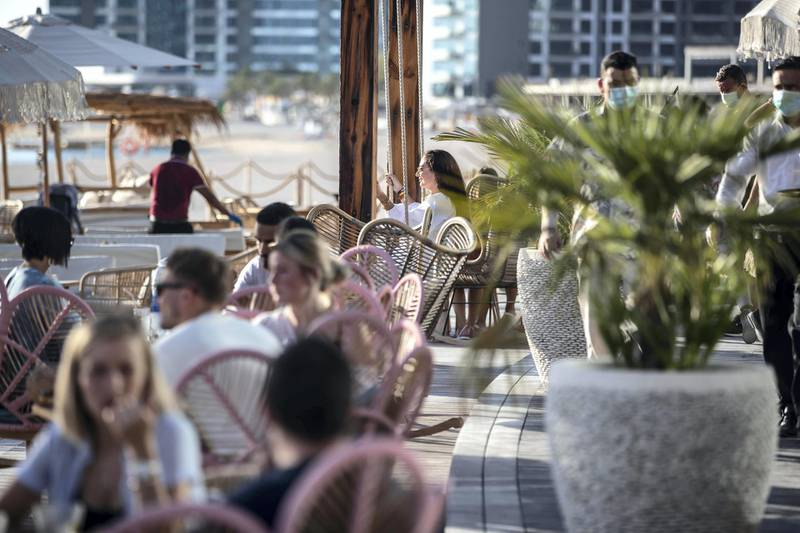 DUBAI, UNITED ARAB EMIRATES. 15 OCTOBER 2020. Newly opened West Beach located on The Palm Dubai. One of the two outlets that are open, Koko Bay. (Photo: Antonie Robertson/The National) Journalist: Sophie Prideaux Section: National.