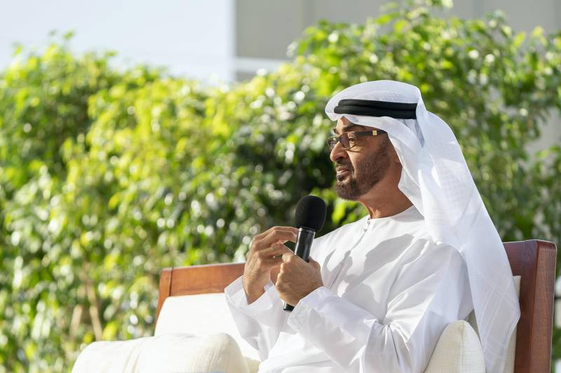 ABU DHABI, UNITED ARAB EMIRATES - March 16, 2020: HH Sheikh Mohamed bin Zayed Al Nahyan, Crown Prince of Abu Dhabi and Deputy Supreme Commander of the UAE Armed Forces (C), delivers a speech about the UAE's Covid19 response, during a Sea Palace barza.   ( Hamad Al Kaabi  / Ministry of Presidential Affairs ) ---
