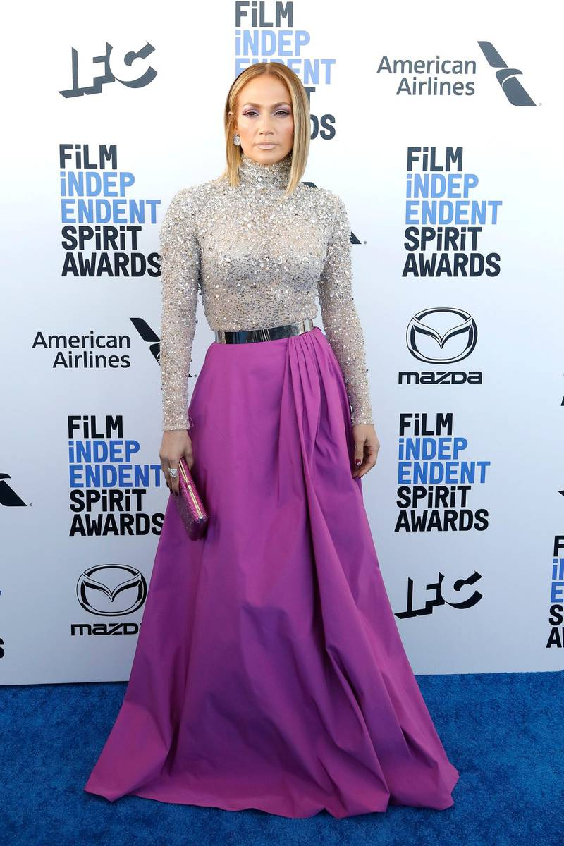 epa08204176 US actress Jennifer Lopez arrives for the 2020 Film Independent Spirit Awards in Santa Monica, California, USA, 08 February 2020. The award ceremony, organized by the non-profit organization Film Independent, honors the finest independent films of the preceding year.  EPA-EFE/NINA PROMMER