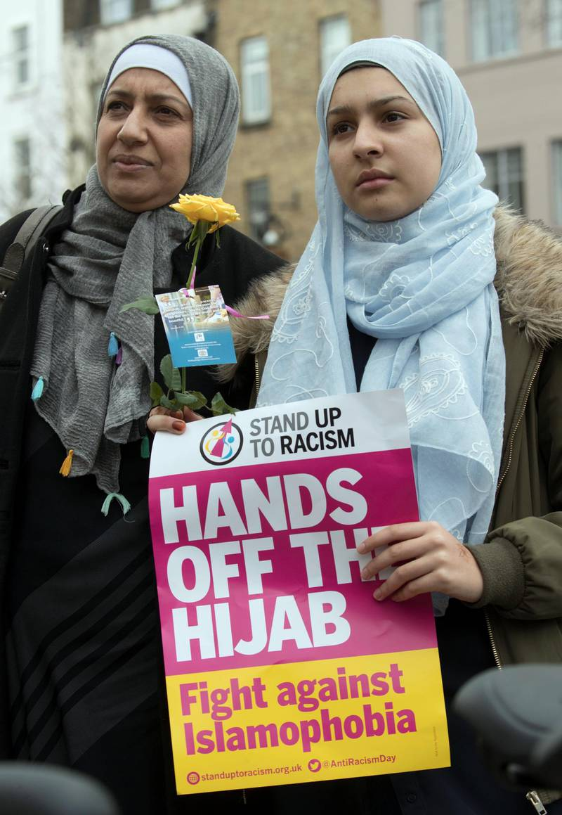 LONDON 3rd April 2018. Chama Bouanik  and her daughter Aisha (14) attend the Stop Racism demonstration in Islington, North London on 'Punish a Muslim Day ' Stephen Lock for the National