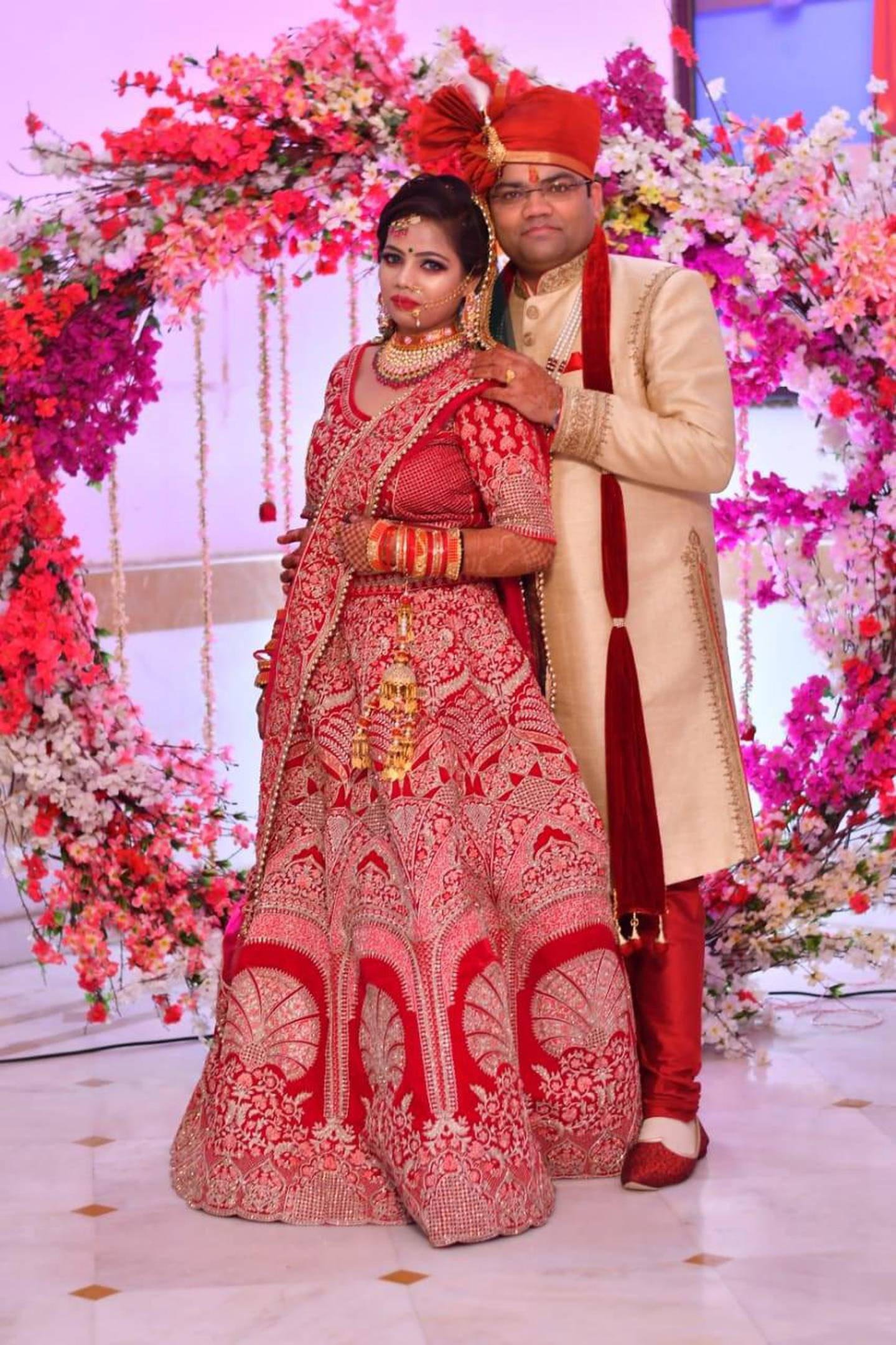 Vishal Porwal, a 37-year-old Indian resident in Dubai and his wife Neha Porwal at their wedding in Kanpur in May.Photo: Vishal Porwal