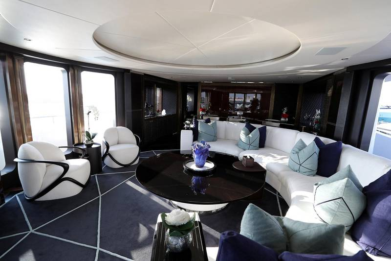 DUBAI , UNITED ARAB EMIRATES , February 26 – 2019 :- Inside view of the Rocket Yacht which is on display at the Dubai International Boat Show held in Dubai. ( Pawan Singh / The National ) For Lifestyle. Story by Sophie