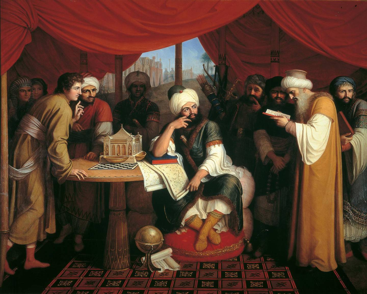 Harun al-Rashid in his Tent with the Wise Men from the East, by Gaspare Landi, 1813, 19th Century, oil on canvas. Italy, Campania, Naplesa, Capodimonte Museum. Whole artwork view. Portrait of a group of people, with the caliph at the center of the scene, surrounded by scholarly and scientific instruments. (Photo by Electa/Mondadori Portfolio via Getty Images)