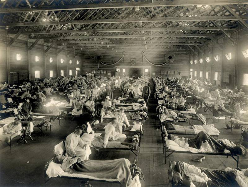 Soldiers are quarantined while recovering from the Spanish flu at Camp Funston, Kansas, U.S. in 1918.   U.S. Army/Handout via REUTERS.  THIS IMAGE HAS BEEN SUPPLIED BY A THIRD PARTY.