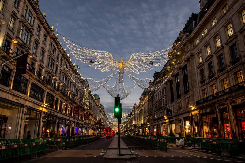 Locations in London during lockdown in the lead up to Christmas 2020. Regent Street