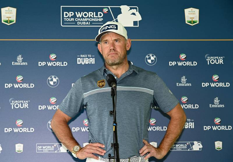 DUBAI, UNITED ARAB EMIRATES - DECEMBER 08:  Lee Westwood of England talking remotely to the media during the pro-am event prior to the DP World Tour Championship at Jumeirah Golf Estates on December 08, 2020 in Dubai, United Arab Emirates. (Photo by Ross Kinnaird/Getty Images)