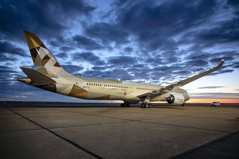 Boeing; Boeing Test and Evaluation; Flight Test; ecoDemonstrator, ecoD, 787-10, ZC069, Etihad Airways, technology demonstrator, product development, NASA, SAFRAN, Glasgow
