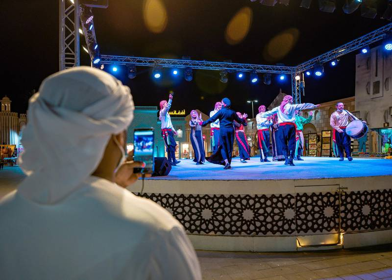 Abu Dhabi, United Arab Emirates, January 10, 2021.  Dancers at the Afghanistan area.Sheikh Zayed Festival.Victor Besa/The NationalSection:  NAReporter:  Saeed Saeed