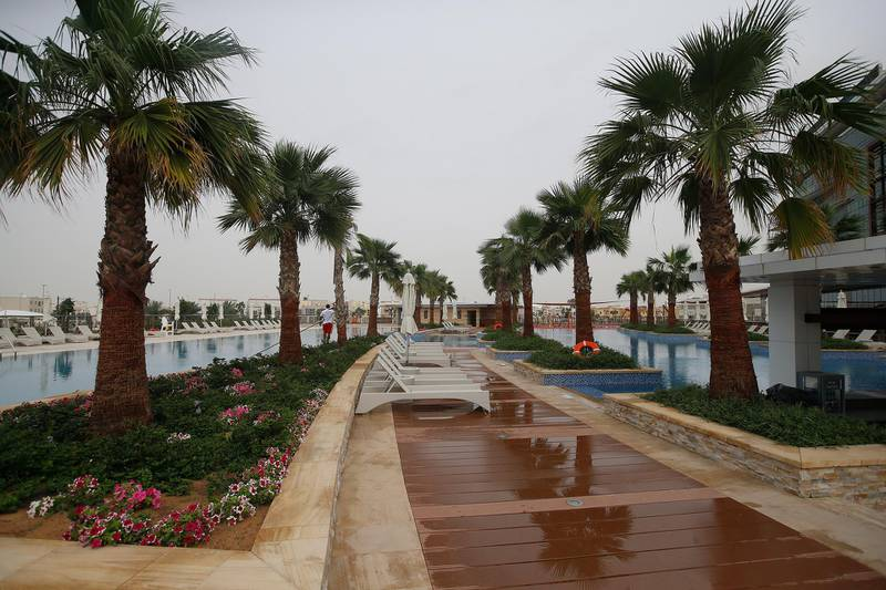ABU DHABI, UNITED ARAB EMIRATES - 21MAR2017 - Newly opened Marriott Al Forsan, splash pool bar at Al Forsan in Abu Dhabi. Ravindranath K / The National ID: 53538 (to go with Sananda Sahoo story for Business) *** Local Caption ***  RK2103-AlForsanHotel19.jpg