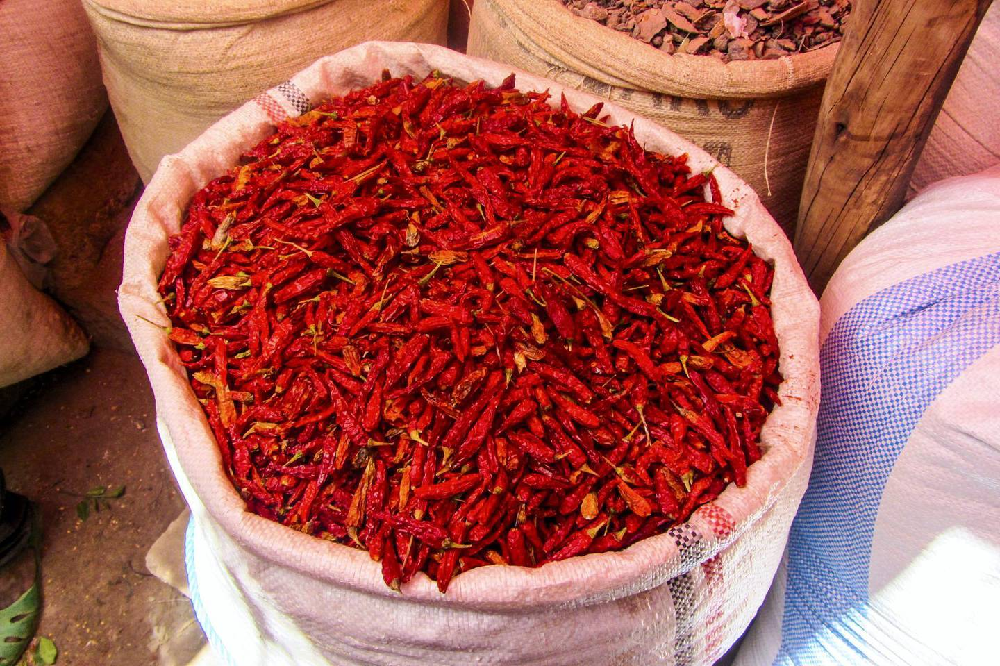 Hot peppers for sale in the markets of Harar, Ethiopia. (Photo by: Matthew Bailey/VWPics/UIG via Getty Images)