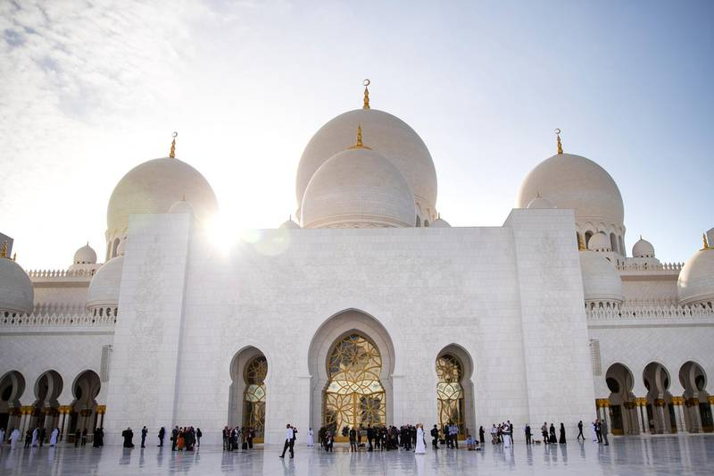 ABU DHABI, UNITED ARAB EMIRATES - FEBRUARY, 4 2019.Journalists wait for Pope Francis and the Grand Imam of Al Azhar Al Sharif University, Dr Ahmed Al Tayeb's arrival to Sheikh Zayed Grand Mosque.(Photo by Reem Mohammed/The National)Reporter: Section:  NA