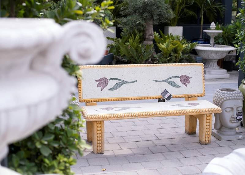 DUBAI, UNITED ARAB EMIRATES - JULY 22 2019.  A bench for sale at the newly opened Dubai Garden Center in Jumeira 1, opposite Town Center.  (Photo by Reem Mohammed/The National)  Reporter: Katy Gillett Section: WK