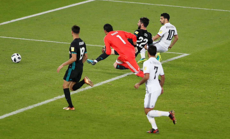 Soccer Football - FIFA Club World Cup Semi Final - Al Jazira vs Real Madrid - Zayed Sports City Stadium, Abu Dhabi, United Arab Emirates - December 13, 2017   Al Jazira's Mbark Boussoufa scores a goal that was later disallowed   REUTERS/Amr Abdallah Dalsh