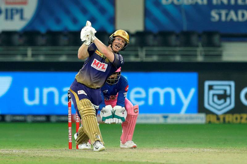 Eoin Morgan, captain of Kolkata Knight Riders hit the sixes  during match 54 of season 13 of the Dream 11 Indian Premier League (IPL) between the Kolkata Knight Riders and the Rajasthan Royals held at the Dubai International Cricket Stadium, Dubai in the United Arab Emirates on the 1st November 2020.  Photo by: Saikat Das  / Sportzpics for BCCI