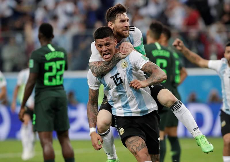 Soccer Football - World Cup - Group D - Nigeria vs Argentina - Saint Petersburg Stadium, Saint Petersburg, Russia - June 26, 2018   Argentina's Marcos Rojo celebrates scoring their second goal with Lionel Messi    REUTERS/Henry Romero