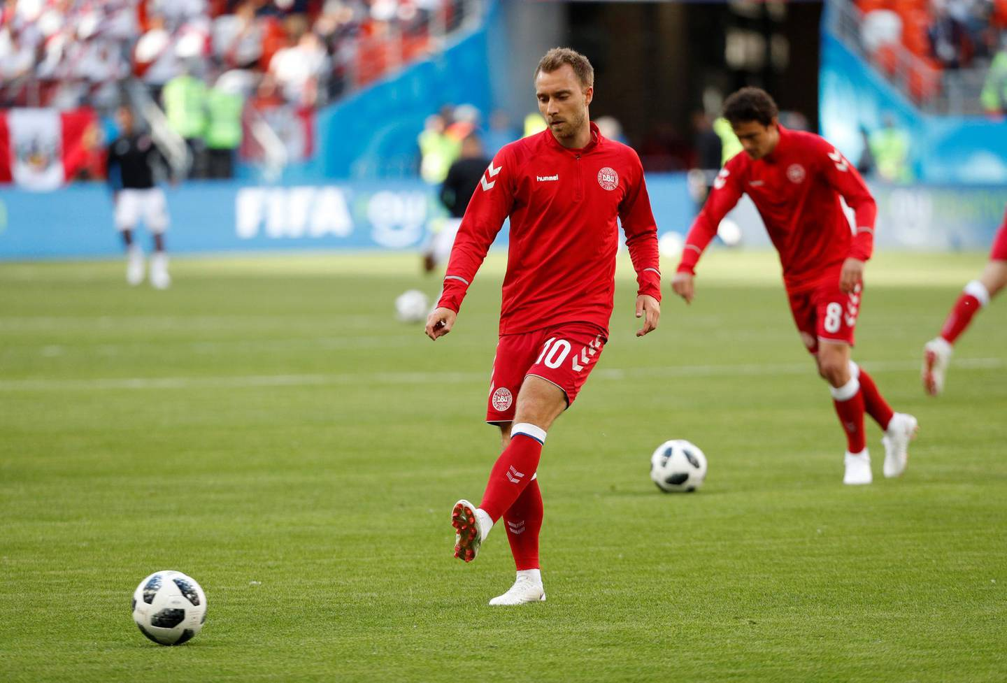 Soccer Football - World Cup - Group C - Peru vs Denmark - Mordovia Arena, Saransk, Russia - June 16, 2018   Denmark's Christian Eriksen during the warm up before the match    REUTERS/Max Rossi