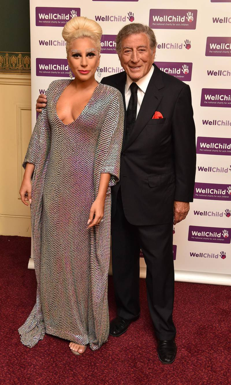 LONDON, ENGLAND - JUNE 08:  Lady Gaga and Tony Bennett prior to the Gala Concert in aid of WellChild at Royal Albert Hall on June 8, 2015 in London, England.  (Photo by Alan Davidson - WPA Pool / Getty Images)
