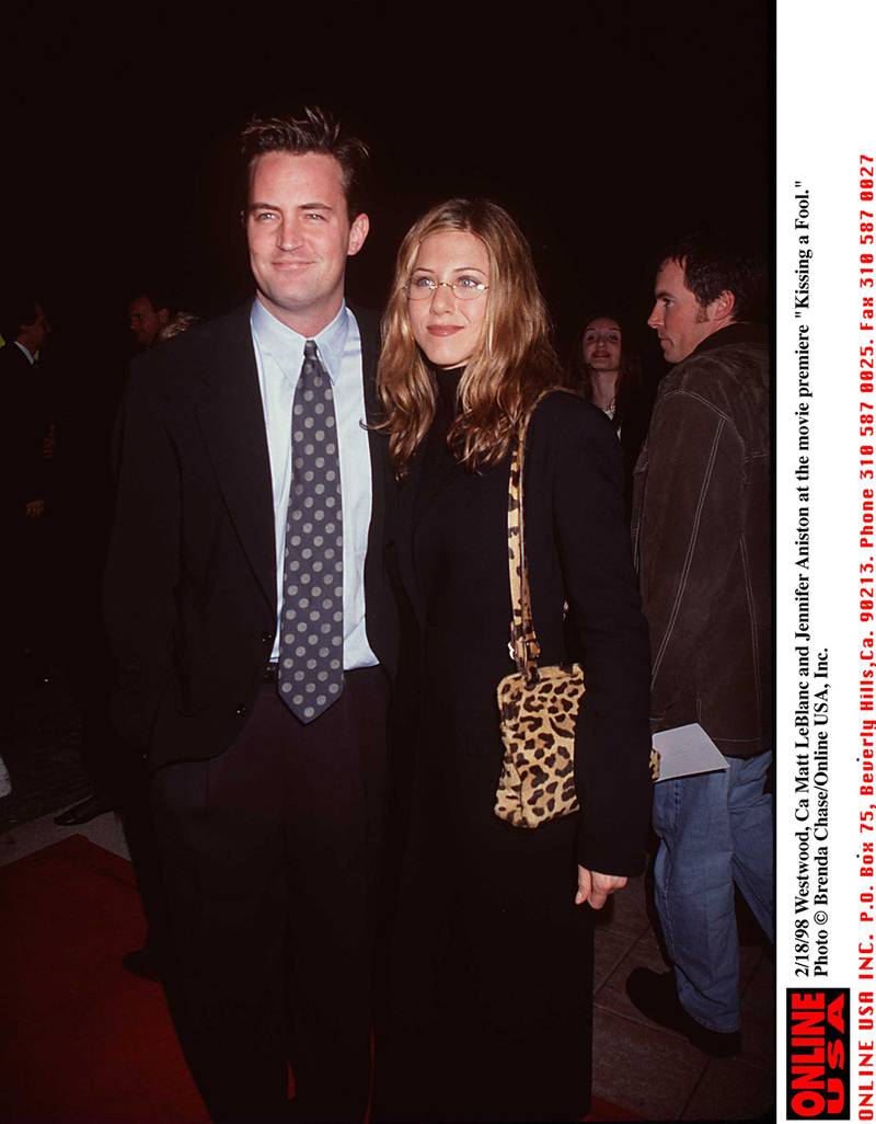 "2/18/98 Westwood, Ca Matt LeBlanc and Jennifer Aniston at the movie premiere of ""Kissing a Fool."""