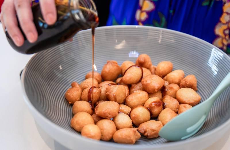 Abu Dhabi, United Arab Emirates, April 7, 2021.Ramadan Recipes.  Luqamat (sweet dumplings)Victor Besa/The NationalSection:  ACReporter: