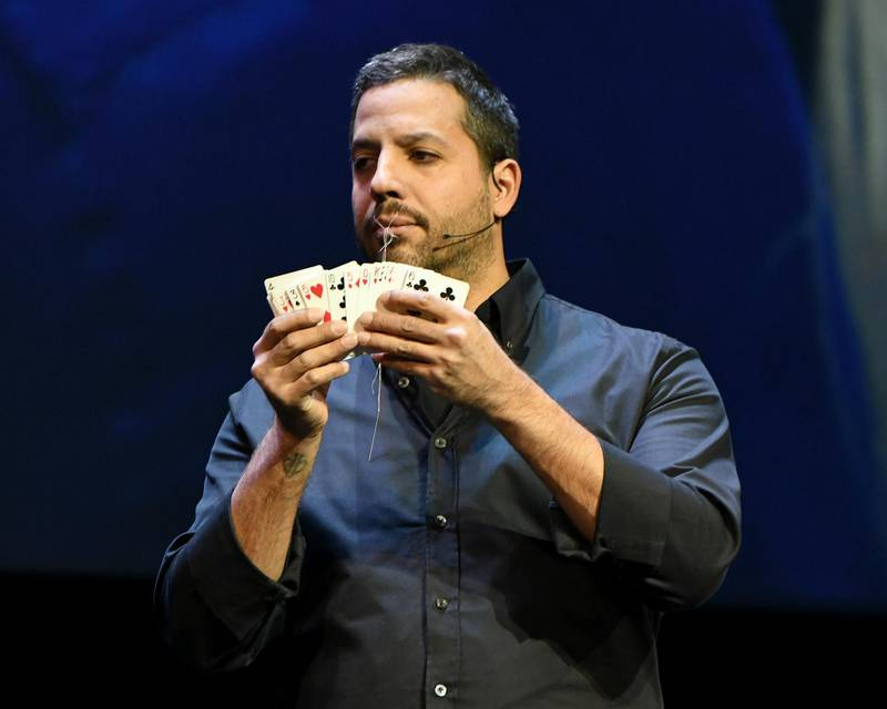 NEW YORK, NY - OCTOBER 24:  Magician & Endurance Artist David Blaine performs onstage during the Onward18 Conference - Day 2 on October 24, 2018 in New York City.  (Photo by Craig Barritt/Getty Images for Onward18)