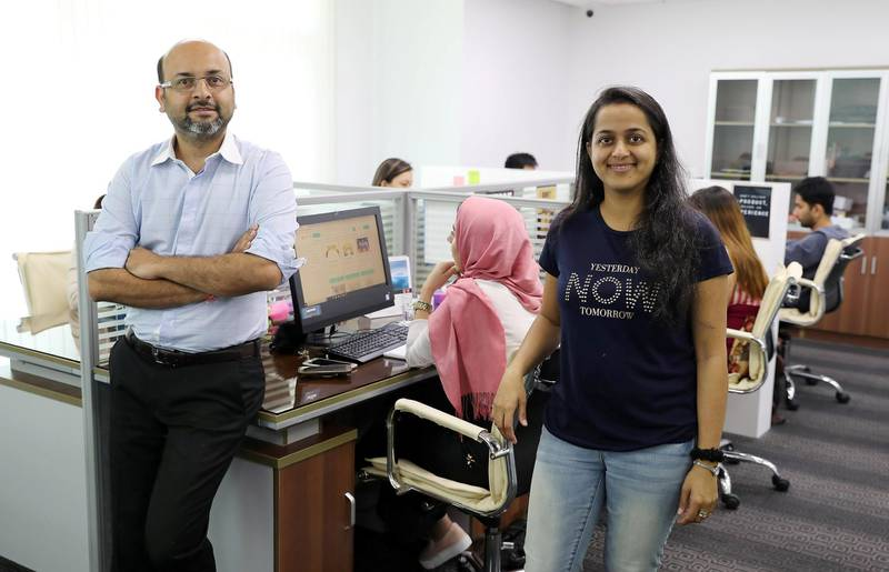 DUBAI , UNITED ARAB EMIRATES , April 15 – 2019 :- Vaibhav Doshi Founder and CEO with his wife and co-founder Purvashi Doshi of RentSher Middle East, a Dubai based online platform for rentals of products and services at their office in the Tiffany Tower in JLT in Dubai. ( Pawan Singh / The National ) For Business. Story by Nada El Sawy